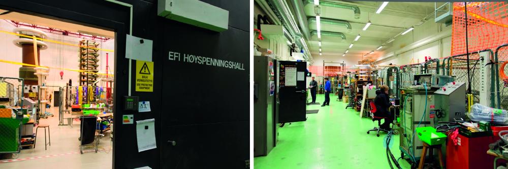 EFI-hallen og celledelt hall i elektrobygget.