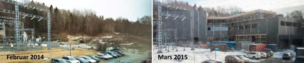 Blakilia-utbyggingen fra tomten var klar for bygging i februar 2014 til slik bygget står i mars 2015.