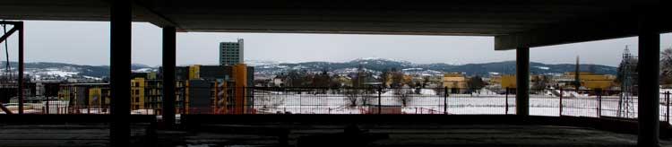 Utsikt fra kontor i vestfløyen - January 2015.