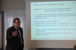Professor Roland Span (RUB) demonstrated the TREND thermodynamic-property library and gave an introduction to the basics.