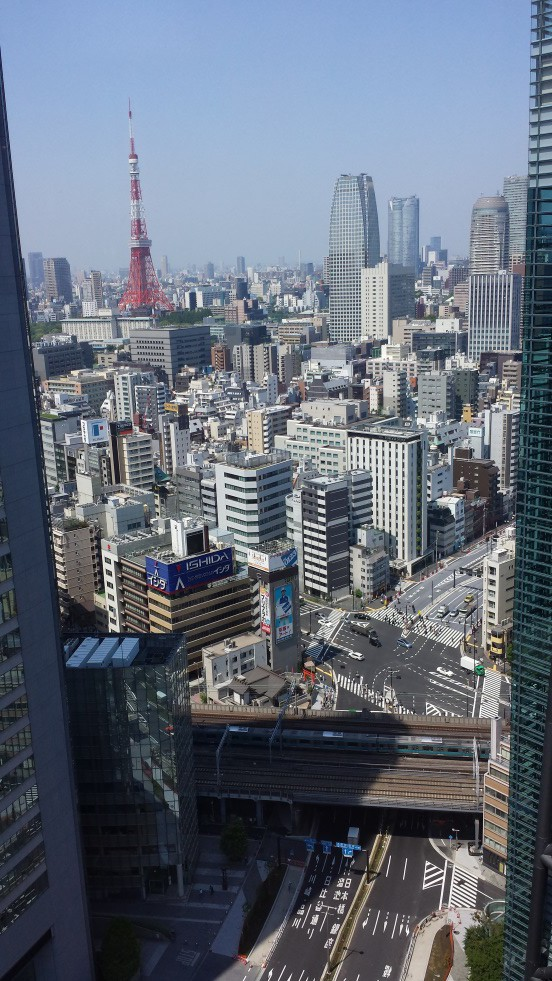 Utsikt fra frokostsalen på hotellet. Hotellet var kun i etasjene 24-37 så lobbyen var i 24de etasje!