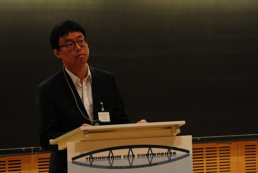 Dr Hwansoo Chung of Korea's CCS Research Centre gave an overview of Korea's detailed plans for CCS deployment. (Photo: Svend Tollak Munkejord)