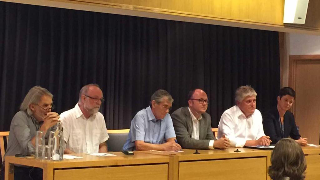 Panelet: Petter Støa, SINTEF, Jan Bråten, Statnett, Arne Grønlund, NIBIO, Erik Marstein, IFE, Nils Røkke, SINTEF og Stine Aakre fra CICERO