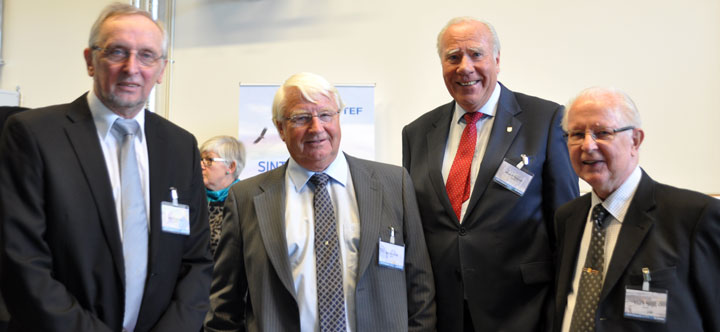 From left: Rolf Hegerberg, former laboratory manager, John Kulsetås, former research director, Knut Herstad, former president and Knut O. Tangen former laboratory manager, all SINTEF Energy. Photo: SINTEF/Mette Kjelstad.