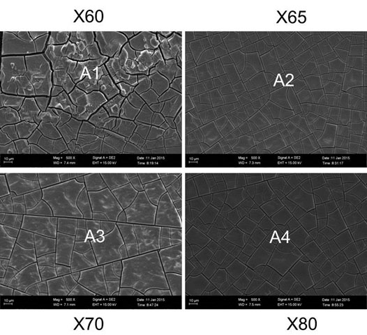 Figure 5: SEM images of product morphology for corroded carbon steel samples after exposure to supercritical CO2 environment at 100 bar and 40 ℃.