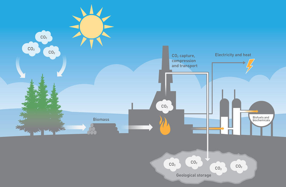 If we capture, transport and deposit the CO2 that is liberated when biomass is burned, and store it permanently in the ground, we can actually remove CO2 from the atmosphere. (Illustration: Doghouse.no)