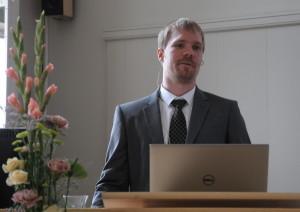 Åsmund Ervik during his PhD defence. Photo: Svend Tollak Munkejord.