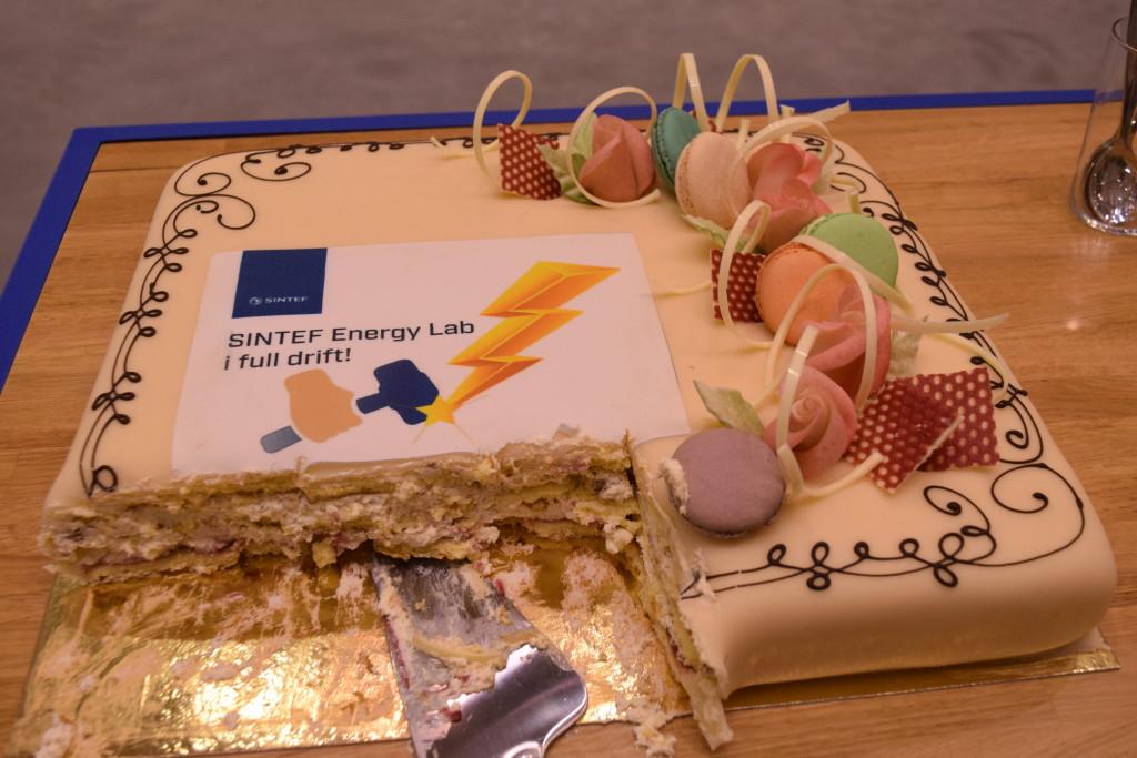 Når man har fått til full aktivitet i nytt laboratorium, må man feire med kake! (Foto: SINTEF/Astrid Lunquist)