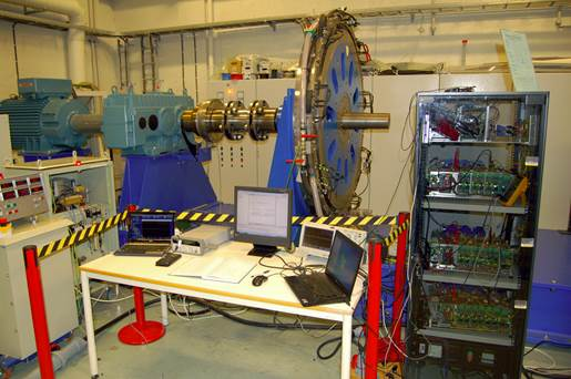 Laboratory set-up at NTNU/SINTEF lab for validating control of a modular series connected converter for a transformerless offshore wind turbine connection.