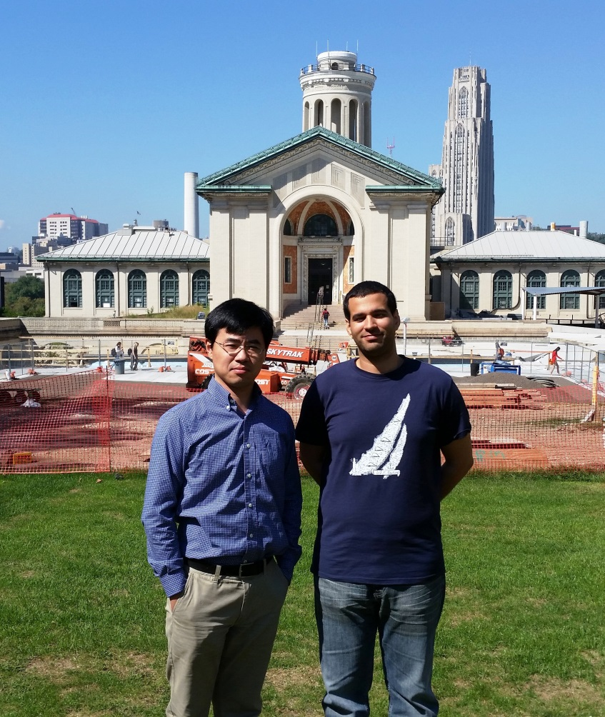 Haibo Zhai and Simon Roussanaly on the Carnegie Mellon University Campus