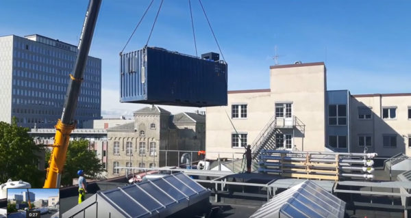 Eight tons on the roof - watch the lifting on video