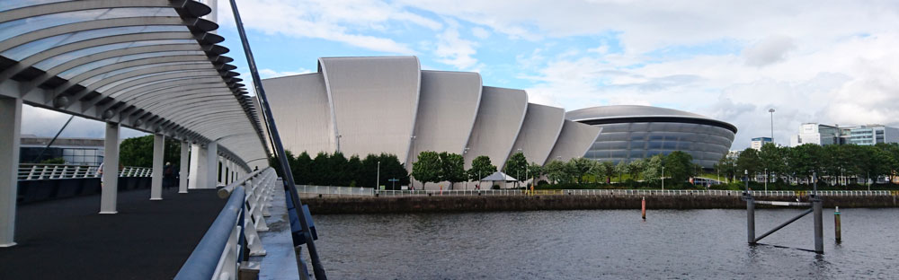 The Scottish exhibition and conference centre, lokalisert ved elven Clyde i Glasgow