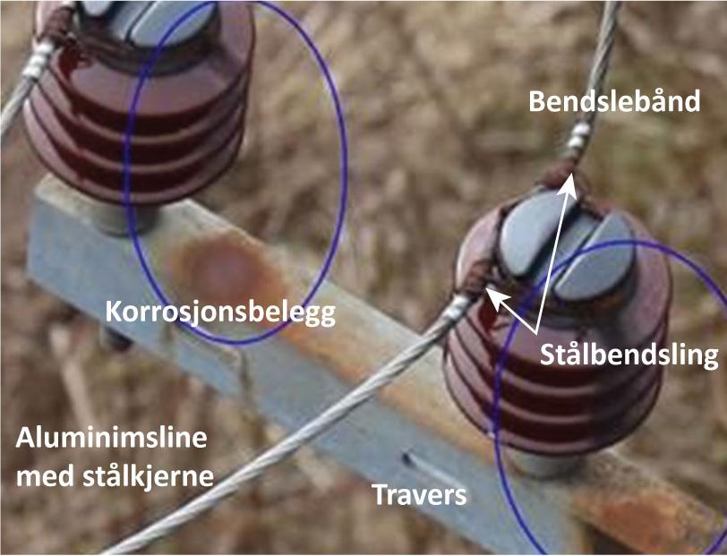 Korrosjonsbelegg er tegn på forringing av isolatorens egenskaper.