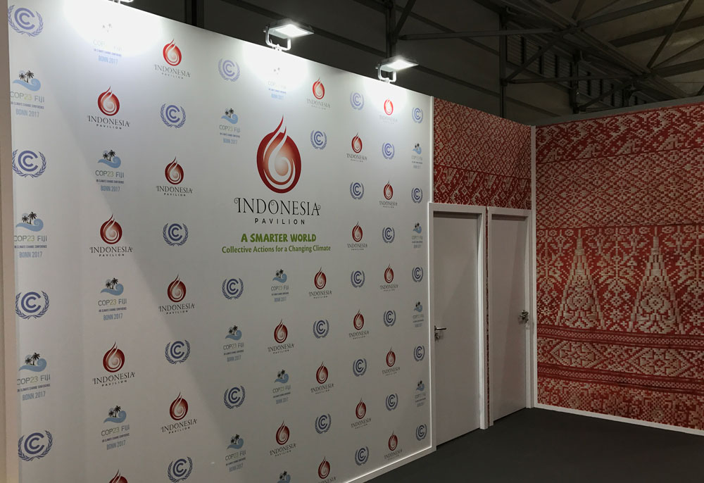 Indonesia's stand. Nice wallpaper. Might get confused with a Norwegian tapestry.