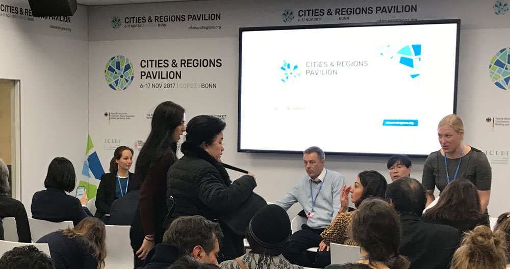 "Packed to the rafters and hectic activity at the ""Smart Cities"" event at COP23."