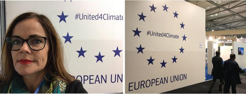 Spent før foredrag på EU stand - #United4Climate - EU paviljongen var lett å få øye på.