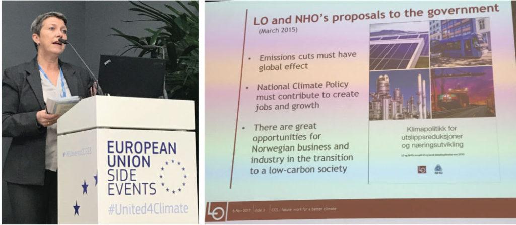 Representant fra LO, Norge – snakker om viktigheten av CCS for Norsk industri og norske arbeidsplasser.