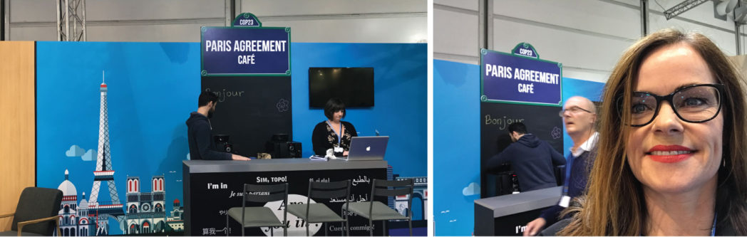 """The French stand featuring the """"Paris Agreement Café""""."""