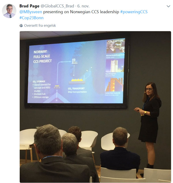 "Your correspondent giving her talk, ""CCS in Norway – past and future"""