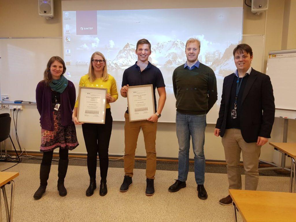 From left: Elin Espeland Halvorsen-Weare (SINTEF), Nora Åsheim Hansen, Carl Axel Aadne Folkestad, Patrick Shittekat ( SINTEF) Photo: SINTEF