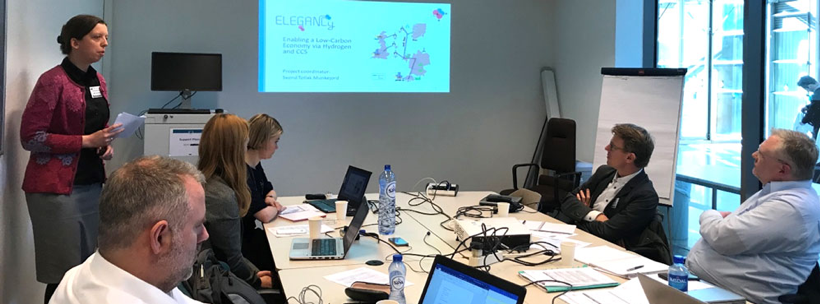 Gunhild A. Reigstad is presenting the ELEGANCY ACT project for the ZEP Network Technology (NWT) at the EU Commission in Rue du Champ de Mars 21, Brussels. In the picture Owain Tucker, Shell, Nikki Brain and Harriet Howe from the ZEP Secretariat, Filip Neele from TNO (NWT co-chair) and Arthur Heberle, Mitsubishi Hitachi Power Systems (NWT co-chair) pay attention.