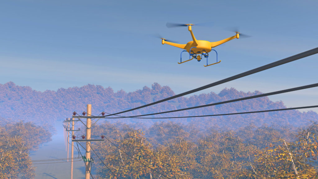Drones surveilling power distribution grid