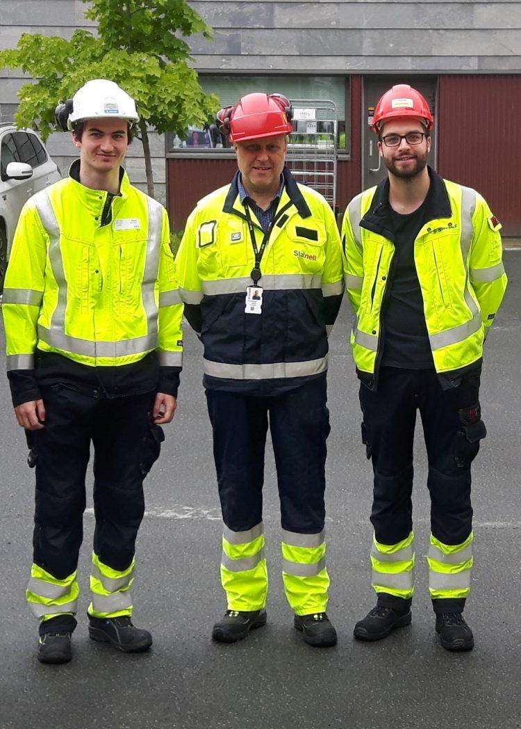 Øyvind Auestad, Arne Smisethjell og Markus Heggås iført korrekt verneutstyr