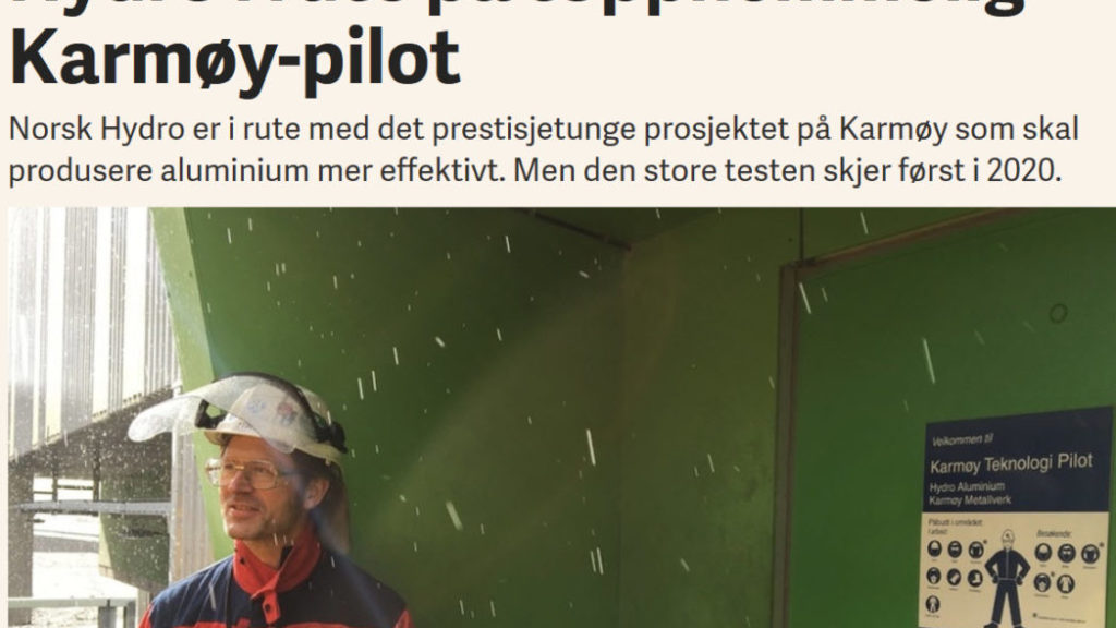 Accelerated Learning Through Technology pilot project at Hydro Karmøy. Faximile of E24 article.