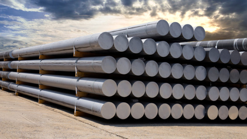 Aluminium stored at a smelting works