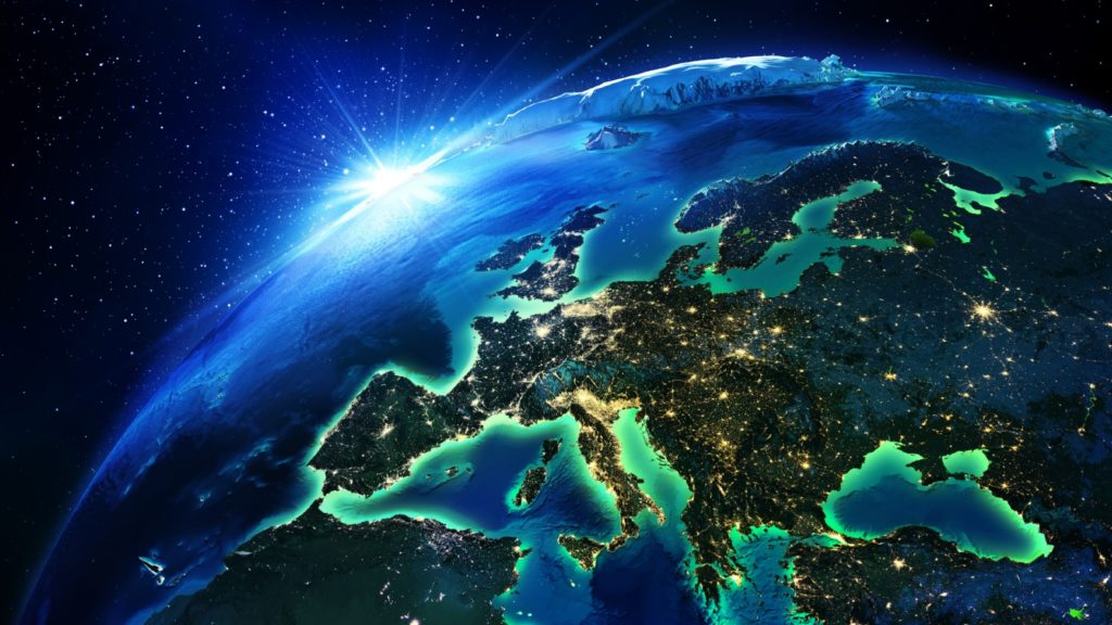 Concept map of Europe from space
