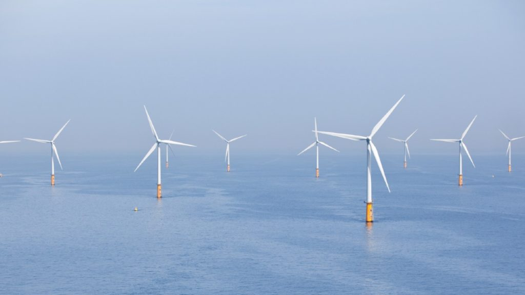 Offshore wind turbines in the ocean