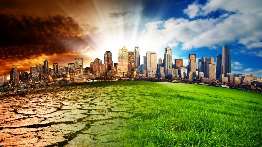 Climate change concept in a city