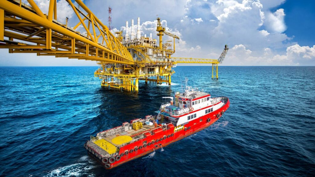 Supply vessel servicing an offshore platform